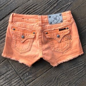Miss Me Neon Orange Denim Shorts Size 26